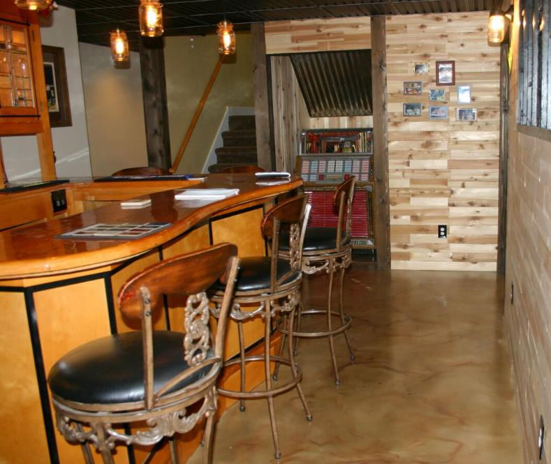 Basement Bar Stained Concrete Floor